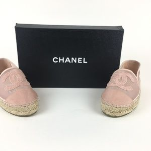 Chanel Pink Mesh and Grosgrain Logo Espadrilles